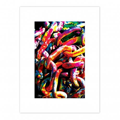 Illustration photographique, thème Marine, issue d'un travail sur l'image. Après tirage papier, mise en couleurs à l'aide de crayons gras.