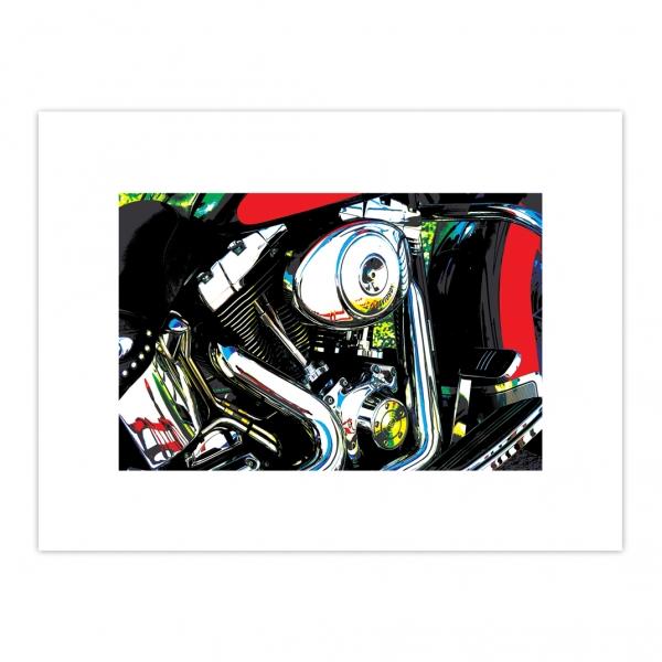 Illustration photographique, thème Chrome, issue d'un travail sur l'image. Après tirage papier, mise en couleurs à l'aide de crayons gras.
