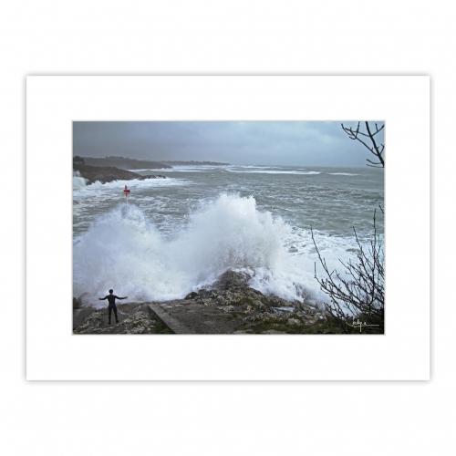 Tempête hivernale – Digue de Brigneau à Moëlan-sur-Mer le 31 janvier 2021.