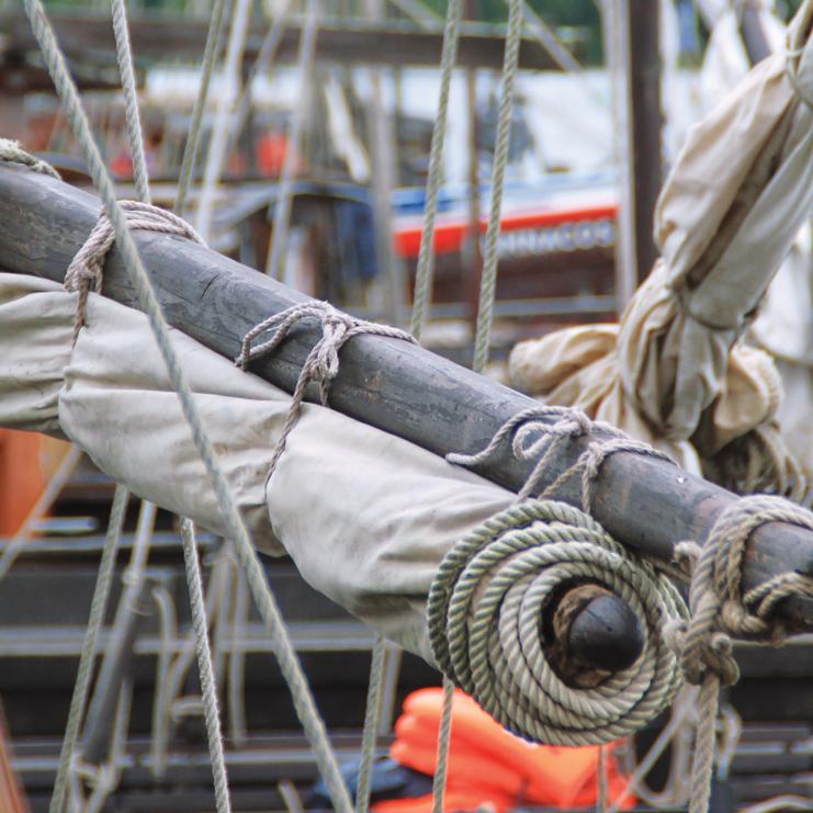 Détail de gréement d'une gabare, navire à fond plat pour naviguer en Loire