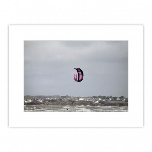 Balai de kitesurf à Fort Bloqué, deux voiles ensemble pour un graphisme parfait
